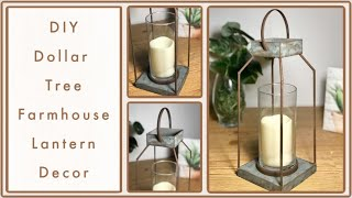 DIY Farmhouse Galvanized Rustic Dollar Tree Lantern - Inspired / Dupe DIY Room Decor