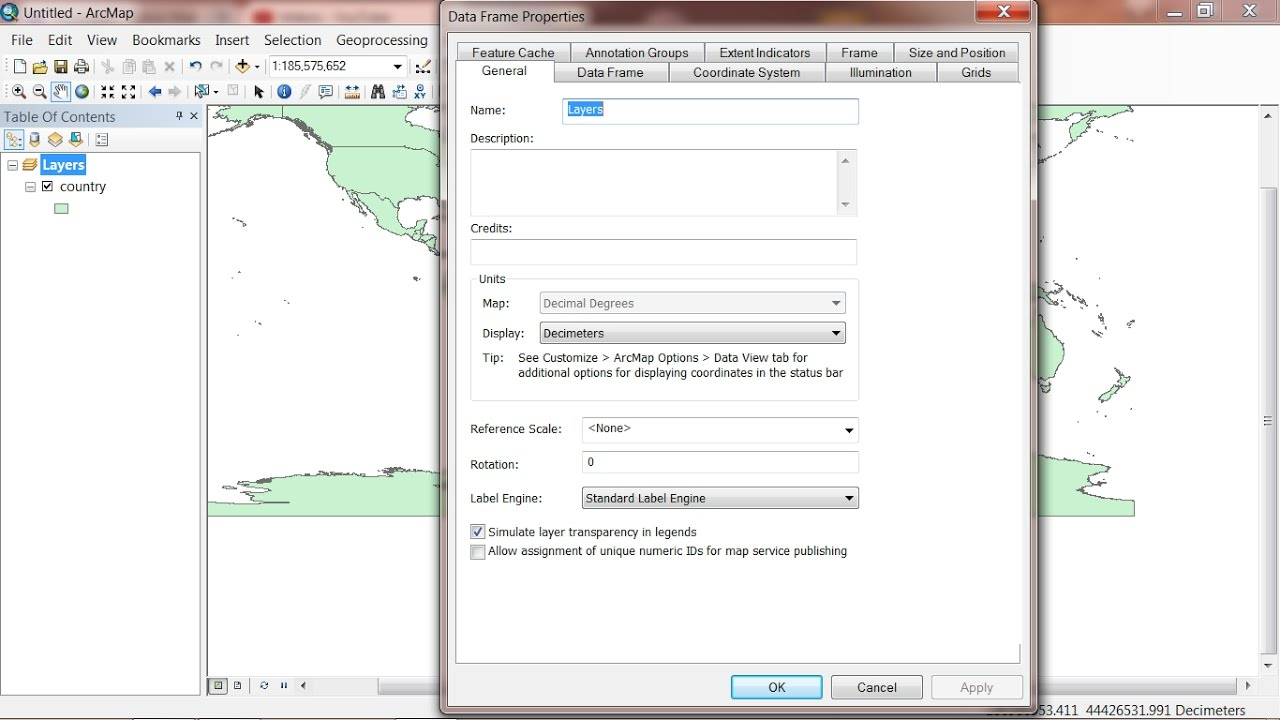 change map units in ArcMap - YouTube on