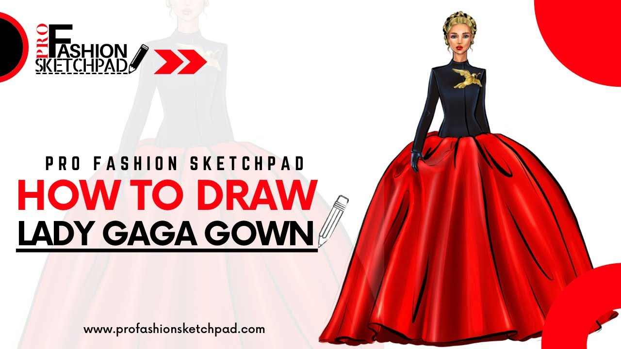 How to draw Lady Gaga Schiaparelli Haute Couture gown with Pro Fashion Sketchpad Templates