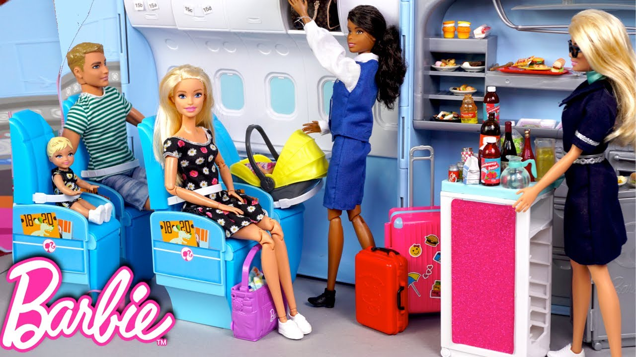Barbie & Ken Family Travel Routine - Baby First Airplane Ride