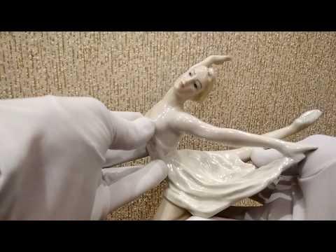 Балерина ЛЗФИ авторская Сычёв цветная глазурованный фарфор СССР