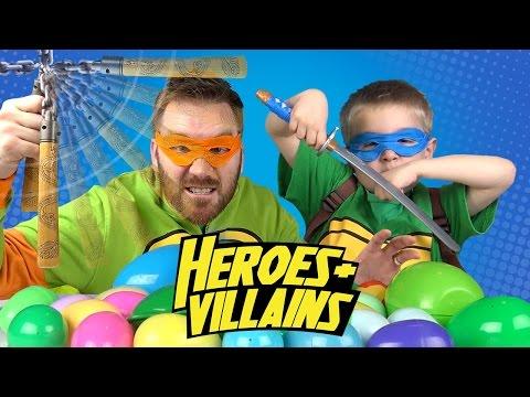 Superheroes Surprise Egg Game IRL - Heroes and Villains w/ Ninja Turtles Toys Batman, Spiderman Toys