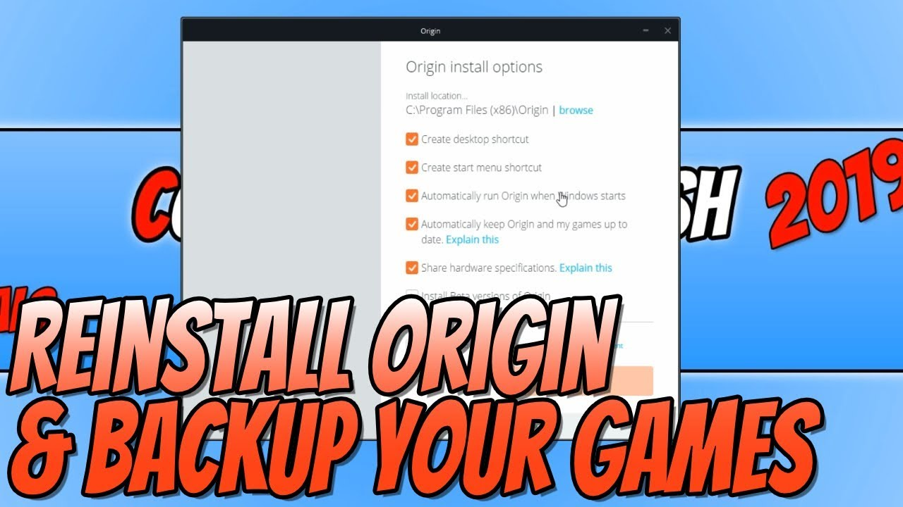 How To Reinstall Origin & Backup Your Games (No Need To Redownload All Of  Your Games)