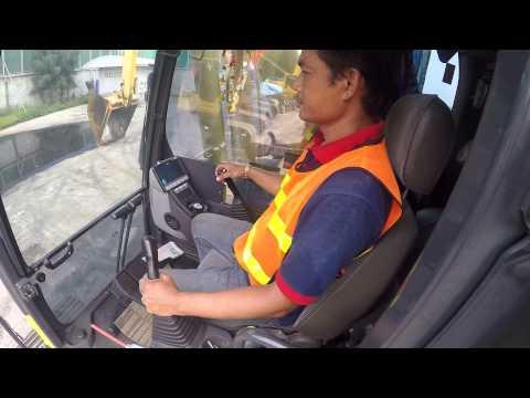 สอนขับรถแม็คโคร รถตัก เป็นได้ใน 3 นาที ง่ายมาก BACKHOE KOMATSU PC200-8 Drive Traning