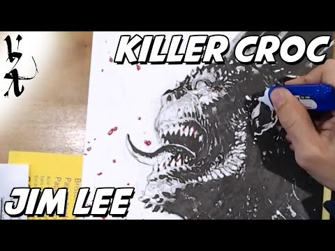 Jim Lee drawing Killer Croc