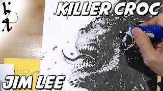 Jim Lee drawing Killer Croc