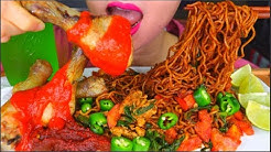 ASMR SPICY FRIED MAGGI NOODLES ( MEE GORENG MAMAK),CHICKEN LEG, SAMBAL, LIME JUICE EATING 咀嚼音 | 먹방