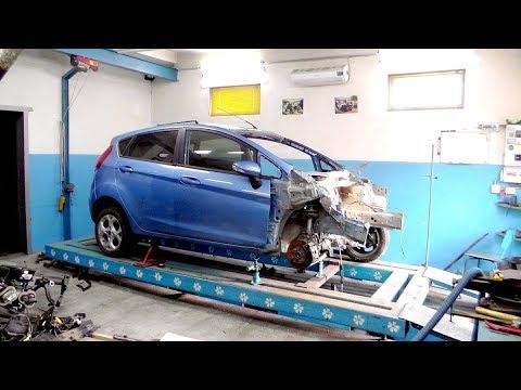 Ford Fiesta. Лобовой. Обзор повреждений. Установка на стапель.