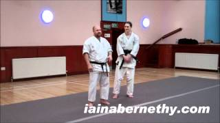 Practical Kata Bunkai: Cross-Buttocks Throw from Pinan Sandan