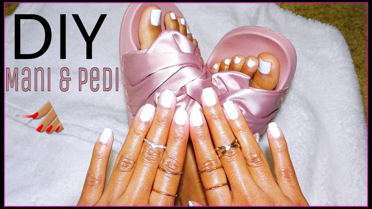 DIY Matching Manicure & Pedicure!💅🏽 WHITE NAILS TUTORIAL! - YouTube