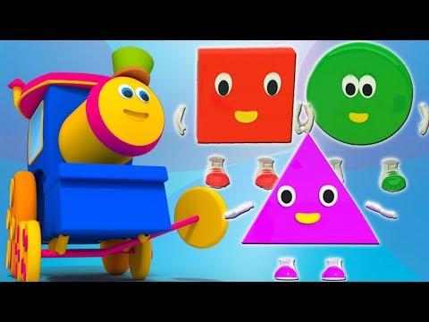 Боб поезд | Пять маленьких фигур | изучать формы в россии | Bob Train Song | Five Little Shapes