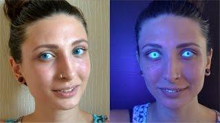 Цветные линзы светящиеся в темноте - первый опыт с линзами Adria Neon(Глаза светятся в темноте. Катя решила попробовать неоновые линзы и посмотреть их эффект. Тестирует голубы..., 2014-12-25T09:59:31.000Z)