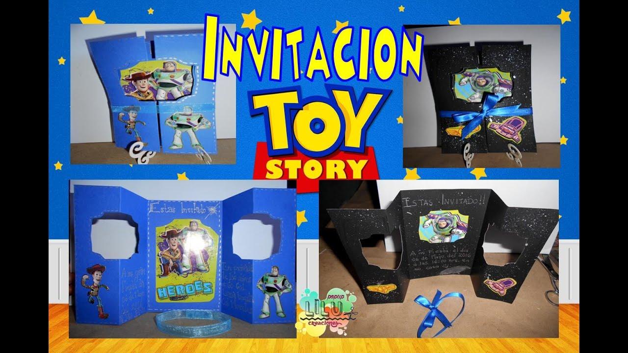 Invitacion toy story buzz lightyear woody - YouTube