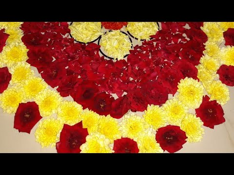 Flower Decoration Ideas For Pooja Room Diwali Flower Decoration Ideas Real Flower Rangoli Designs Youtube