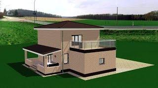 Визуализация проекта 2-этажного дома с гаражом