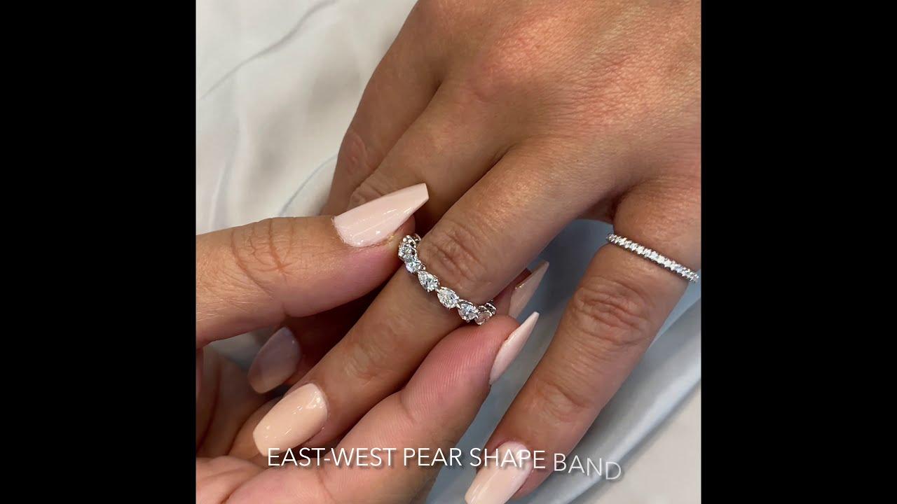 East-West Pear Shape Diamond Wedding Band