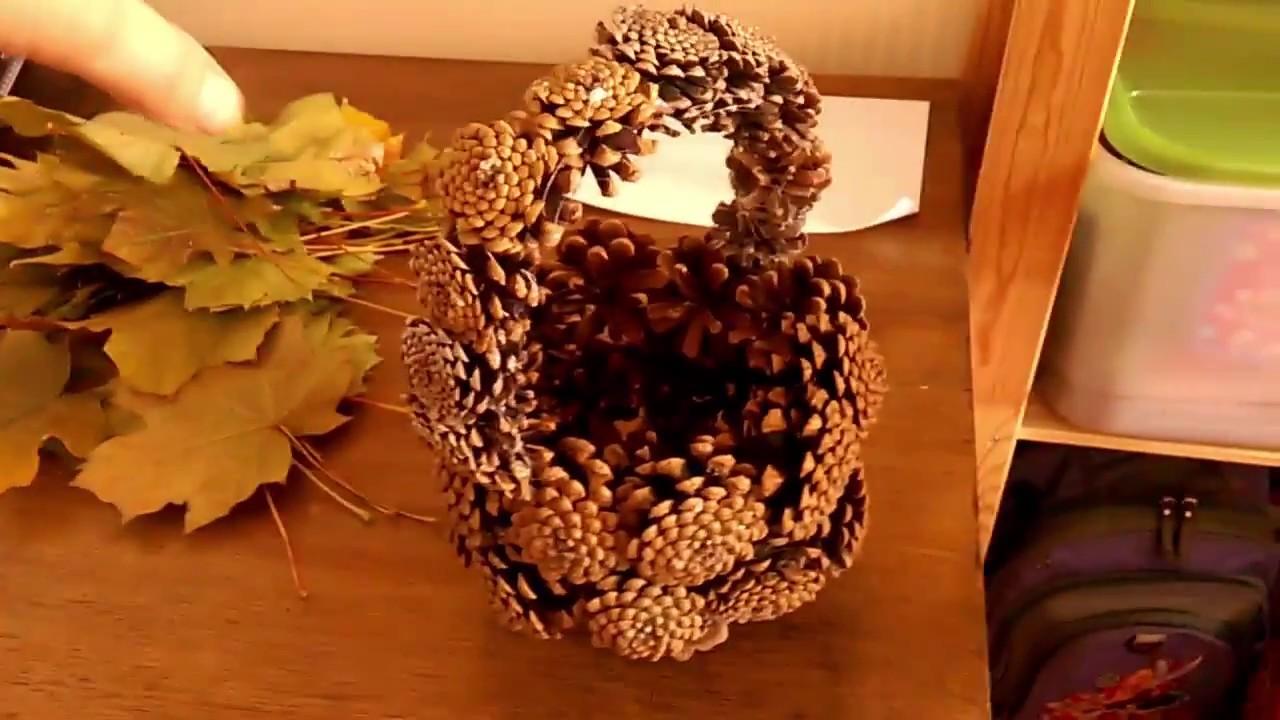Поделка на тему Осень - корзинка из шишек, цветы из ...