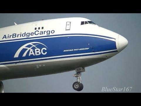 AirBridgeCargo Airlines (ABC) Boeing 747-400ERF (VP-BIM) landing at AMS/EHAM (Schiphol) RWY 06