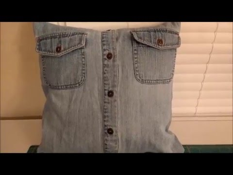 DIY Pillow Cover From Old Shirts - YouTube