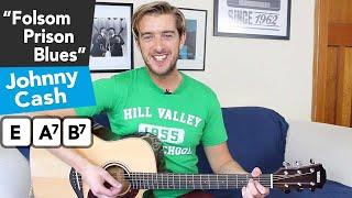 Johnny Cash - Folsom Prison Blues acoustic guitar tutorial // 3 chords + SOLO