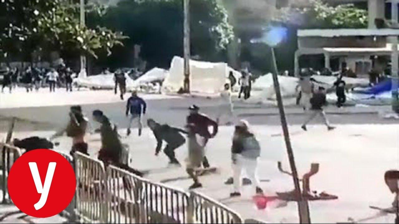 ביירות: חיזבאללה הורסים אוהלי מפגינים
