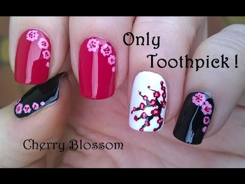 Easy Cherry Blossom Nail Art Using Toothpick Acrylic Paint