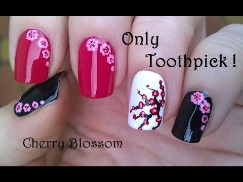 Easy Cherry Blossom Nail Art Using Toothpick Acrylic Paint Youtube