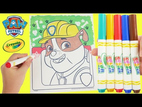 Paw Patrol Crayola Magic Markers and Rubble Coloring Page Learn COLORS with Toy Surprises