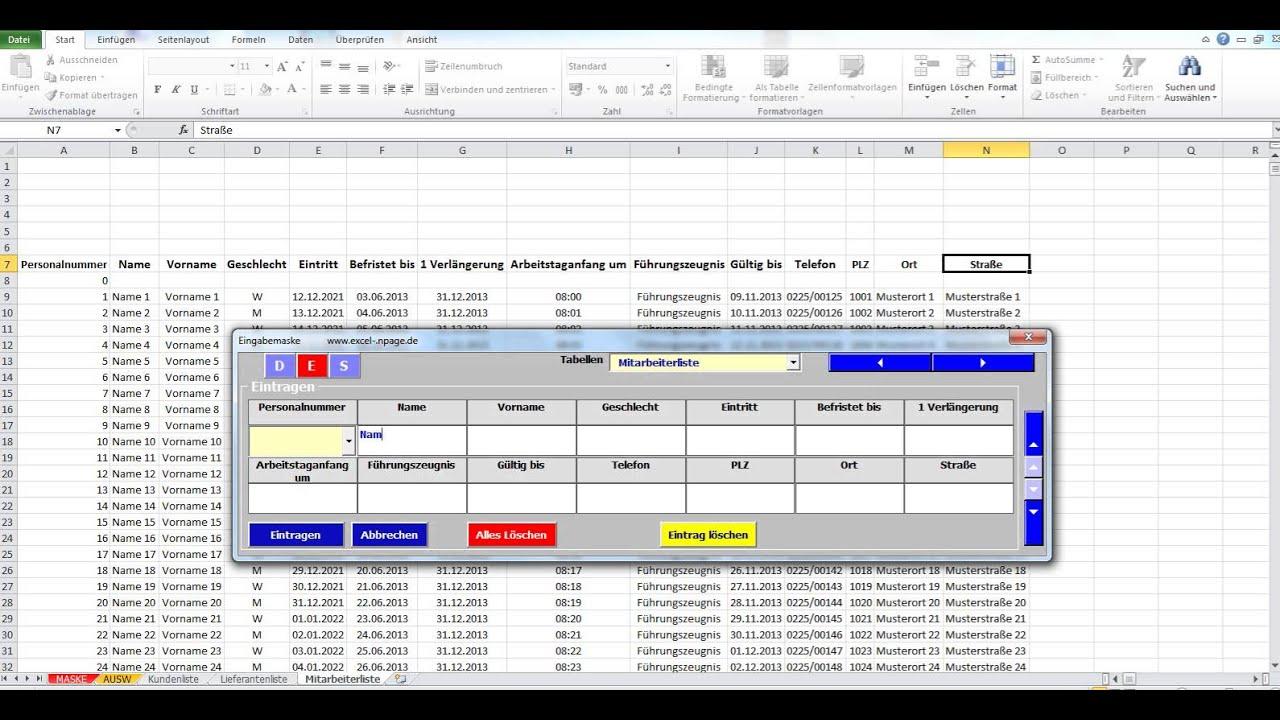 Datenbanken In Excel Aus Flexibler Eingabemaske Erstellen Mitarbeiterliste