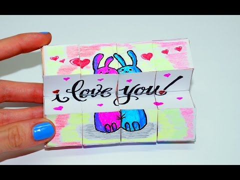 DIY Valentine's Day Gifts Ideas. Magic CUBE TRANSFORMER. Easy paper crafts Tutorial / Julia DIY