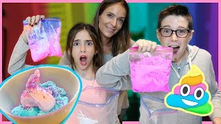 UNICORN POOP ICE CREAM IN A BAG!! - DIY