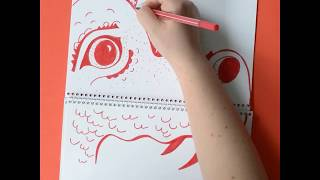 Funny drawing tutorial: How to draw a dragon around a paper writing pad with STABILO Pen 68