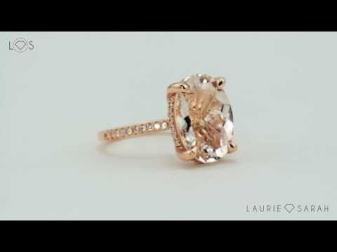 12x16mm Oval Morganite Engagement Ring in Rose Gold