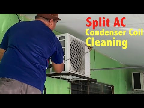 Chemical Cleaning  Air Conditioner Outdoor Unit ( Condenser Coil )