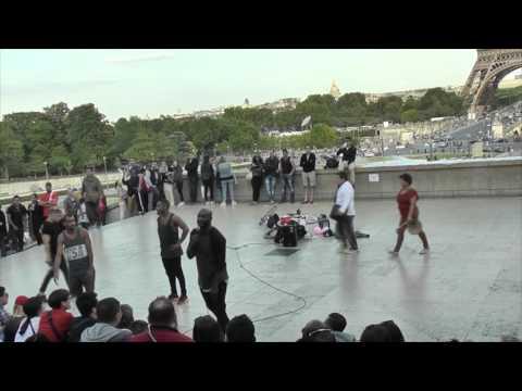 Street show in Trocadero near Eiffel tower