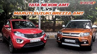 Tata Nexon AMT vs Maruti Vitara Brezza AMT Comparison   Hindi   MotorOctane