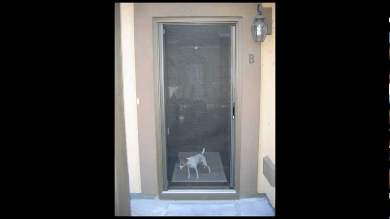 Roll away retractable screen doors youtube for Rolling screen door replacement