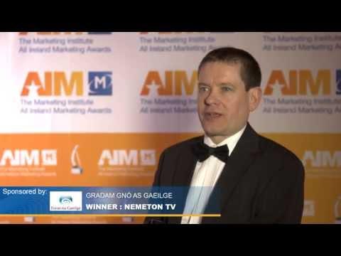 2013 Gradam Gnó sponsor Gearóid Trimble, Foras na Gaeilge & Irial Mac Murchú, Nemeton TV.