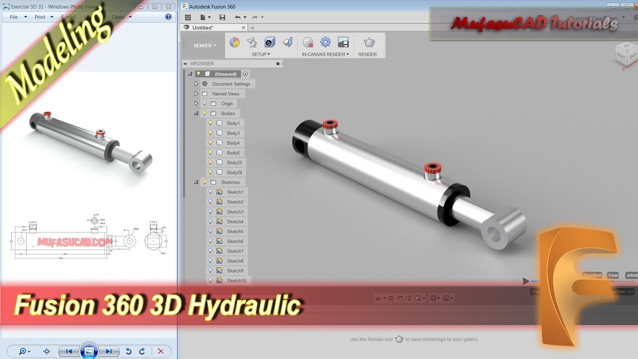Fusion 360 Tutorial 3d Modeling Hydraulic + Render Practice Exercise 16