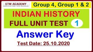 Answer Key | History Full Unit Test [25.10.2020] | Free PDF Test 11 | TNPSC GROUP 1, GROUP 2 & 4
