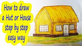 How to draw a hut or house step by step ❋❋ House drawing