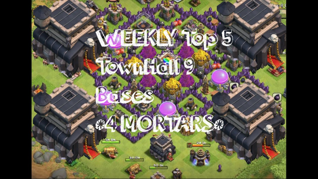 Mortar th9 trophy base top 3 in the world bases war anti hog