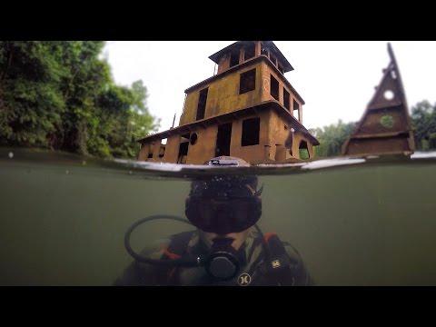 Scuba Diving Half Sunken Tug Boat in River! (Explored for Potential Treasure) | DALLMYD