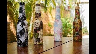 Reciclagem: Garrafa Longneck Decorada com Patchwork
