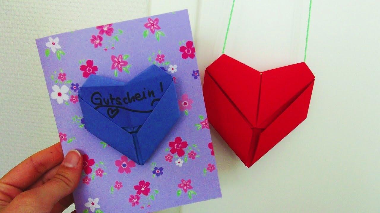 diy deko herzchen falten geldgeschenk oder gutschein herz origami youtube. Black Bedroom Furniture Sets. Home Design Ideas