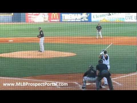 Tigers OF Andy Dirks hits an RBI single for Triple-A Toledo Mud Hens - International League