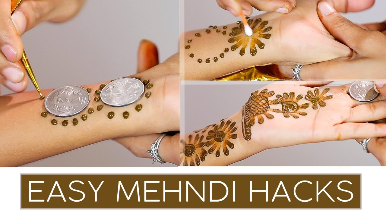 Simple & Quick mehndi design using buds and coin | mehndi tricks and tips