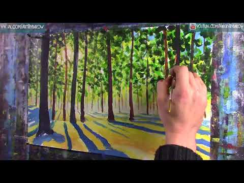 Sunny forest   How to paint a acrylic painting! Time lapse painting tutorial by Rybakow