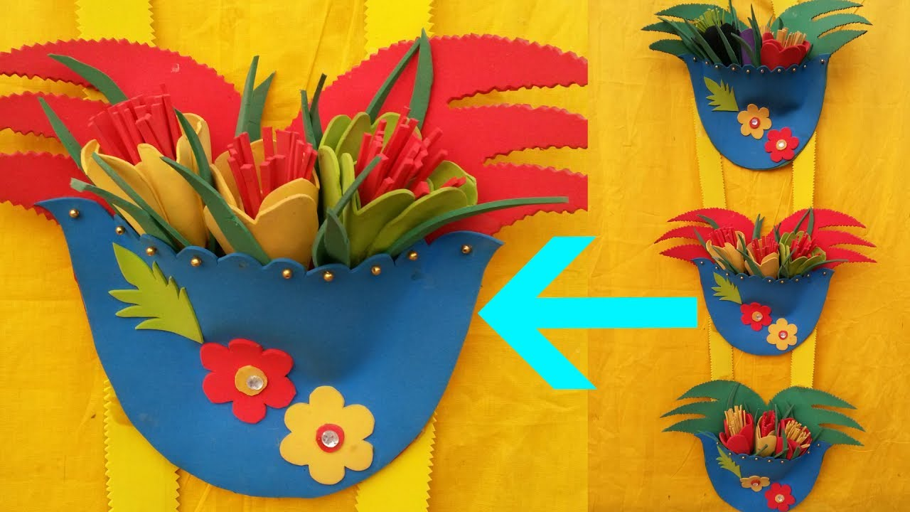 DIY wall Hanging For Flower Vase! - How To Make Wall Hanging With ...
