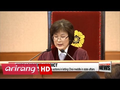 President Park Geun-hye removed from office as impeachment motion upheld